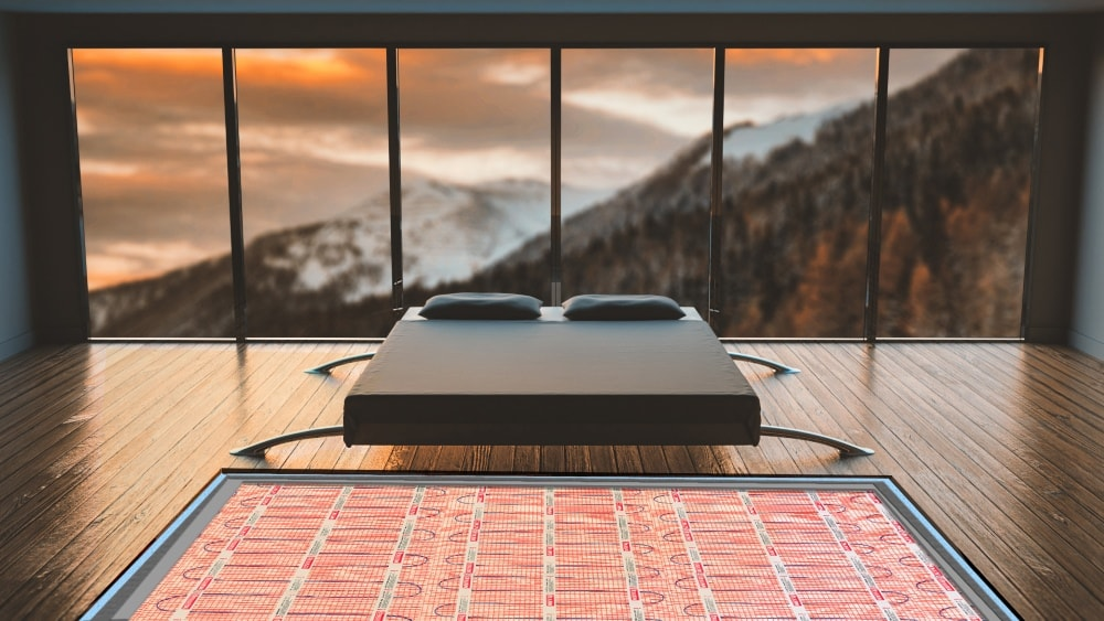 mountain bedroom underfloor heating mat cut-out