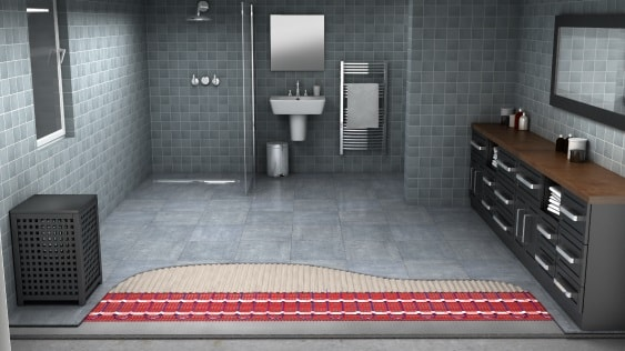 Bathroom with underfloor heat view